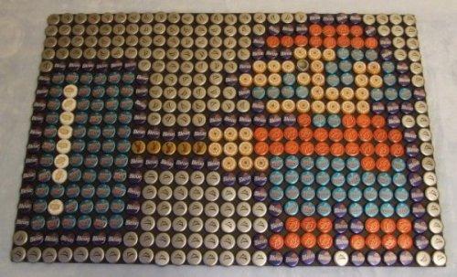 Изображения героев видеоигр, выполненные из пивных крышек