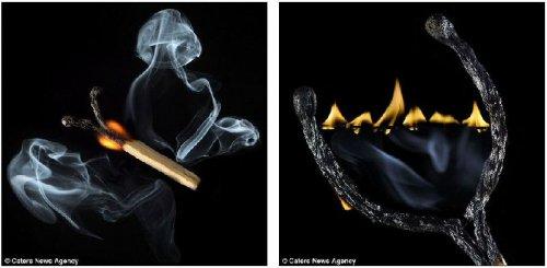 Фотохудожественные миниатюры из сгоревших спичек
