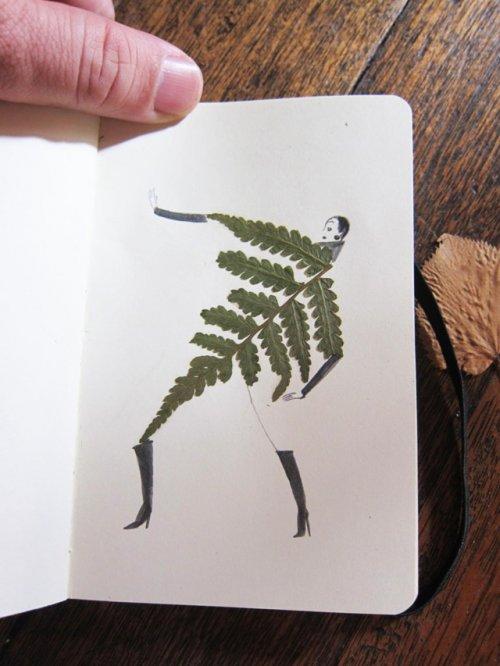 Рисунки из сухих листьев