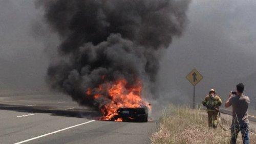Lamborghini Aventador загорелся на тест-драйве