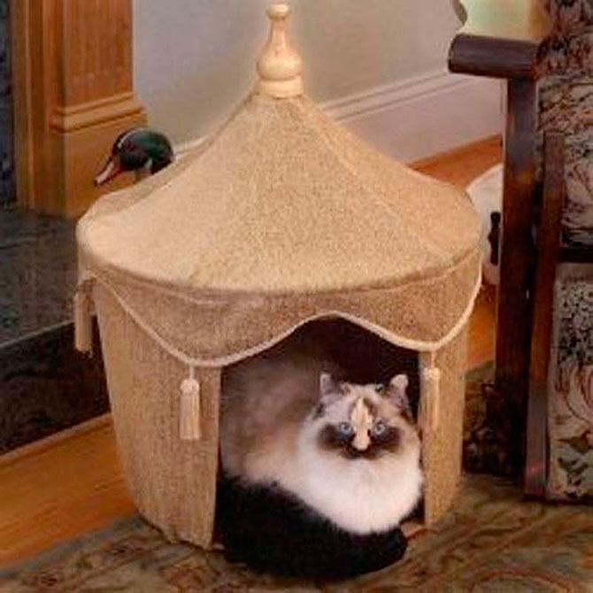Фото домика для кошки своими руками фото 49