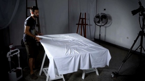 Воссоздание известных картин при помощи утюга для рекламного ролика