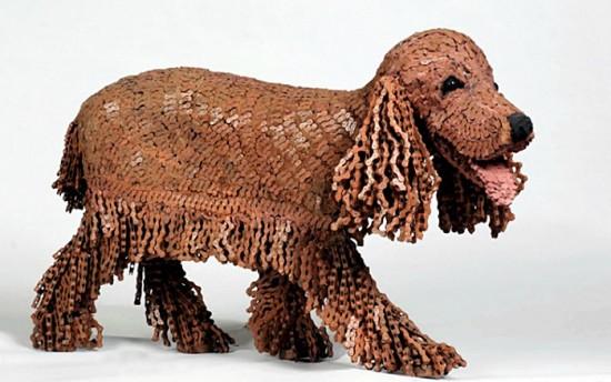 Скульптуры собак, сделанные из велосипедных цепей