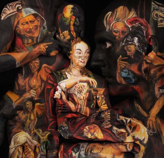 Живое искусство: Музейные шедевры, нарисованные на человеческих телах