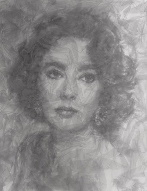 Художник создает пугающе реалистичные портреты из тюлевой сетки