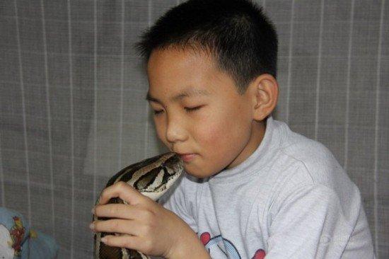 Мальчик из Китая жил и спал с питоном на протяжении 13 лет