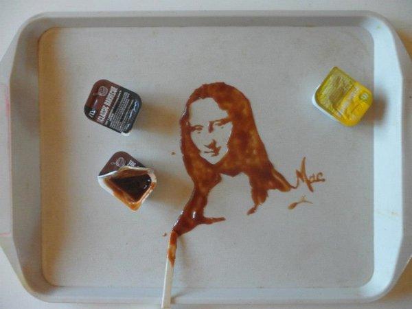 Удивительные портреты из жидких и рассыпчатых продуктов питания (9 фото)