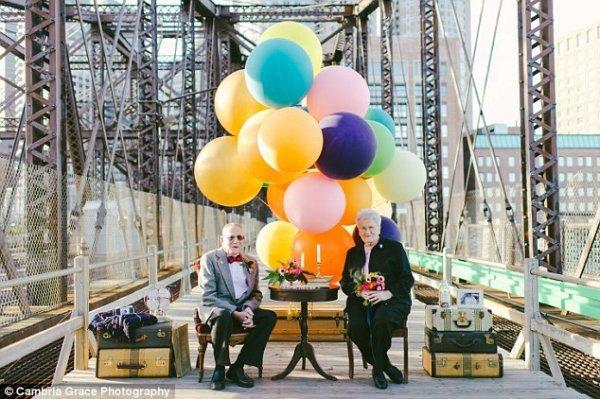 Празднование 61-ой годовщины супружеской жизни в стиле мультфильма