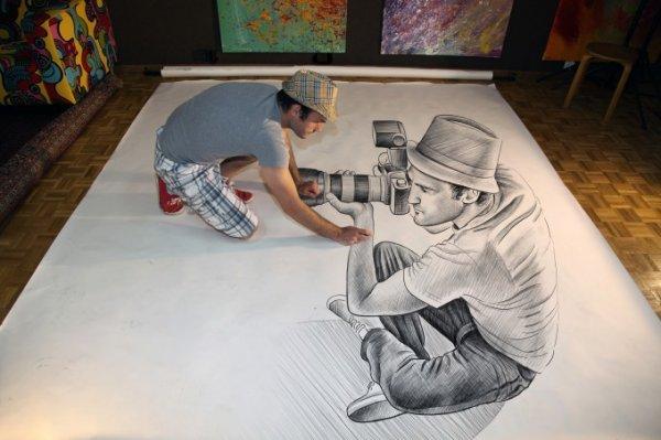 Анаморфные рисунки карандашом, созданные Беном Хайне (10 фото)