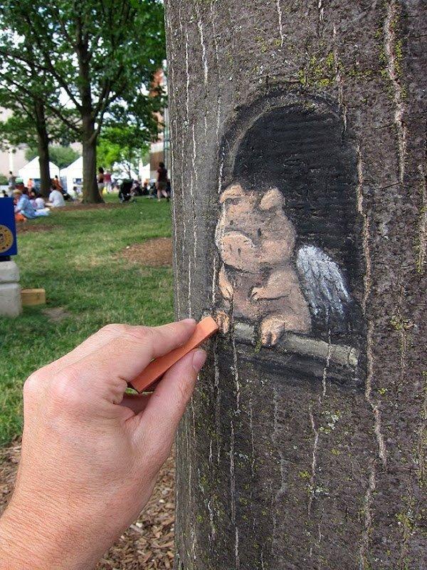 Очаровательный стрит-арт Дэвида Зинна (18 фото)