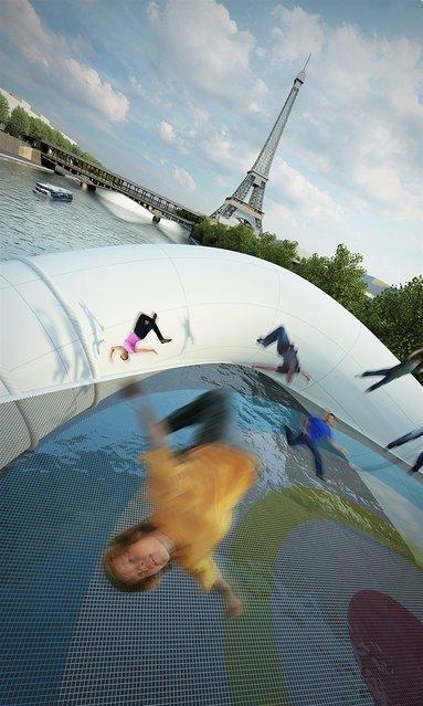 Парижская достопримечательность: батутный мост во Франции (5 фото)