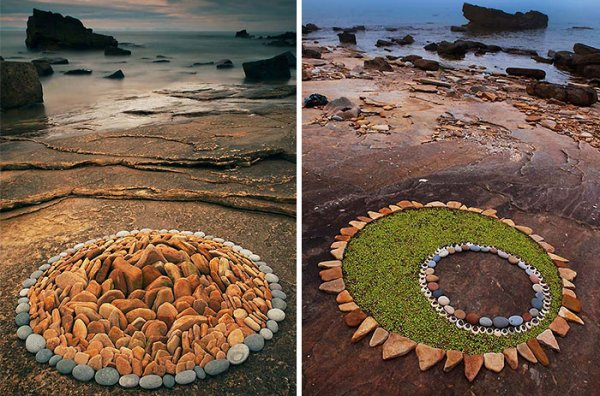 Художник превращает камни и листья в красивый геометрический лэнд-арт (10 фото)