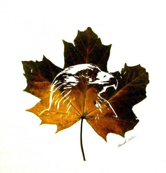 Изящные скульптуры из опавших листьев от Омида Асади (10 фото)