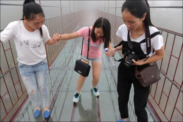 Прозрачный мост над ущельем для самых смелых (7 фото)