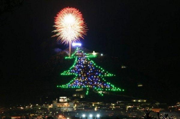 Огромная рождественская ёлка в городе Губбио на горе Инджино (3 фото)