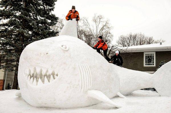 Каждый год трое братьев создают огромные снежные скульптуры у себя во дворе (8 фото)