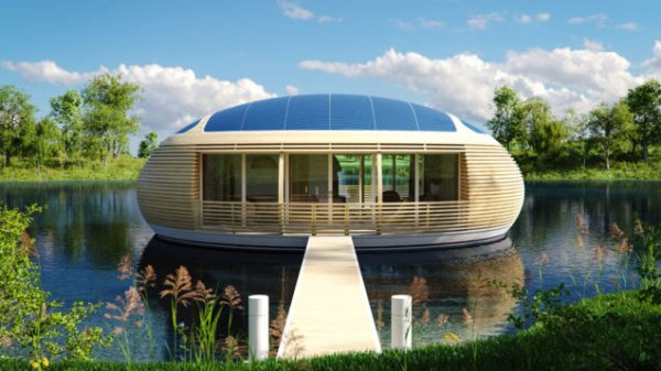 Необычный дом на воде из вторсырья (8 фото)