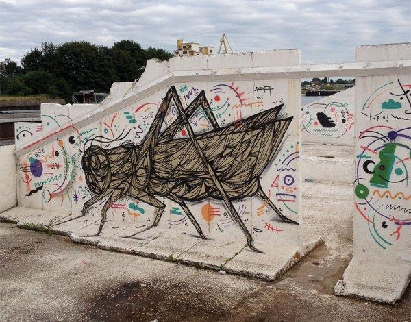 Уличный стрит-арт Dzia вдыхает новую жизнь в заброшенные городские кварталы (13 фото)