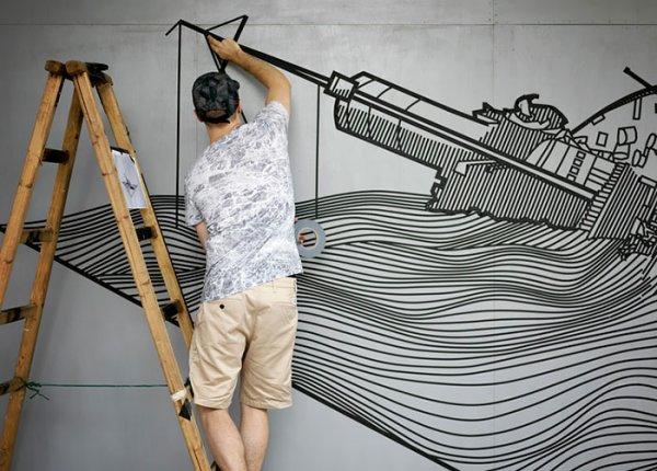 Стрит-арт рисунки Buff Diss из клейкой ленты (15 фото)
