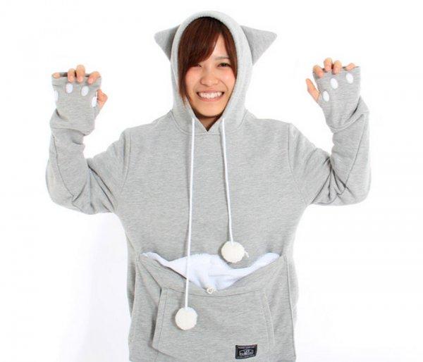 Толстовка с сумкой Mewgaroo для ношения кошек (12 фото)