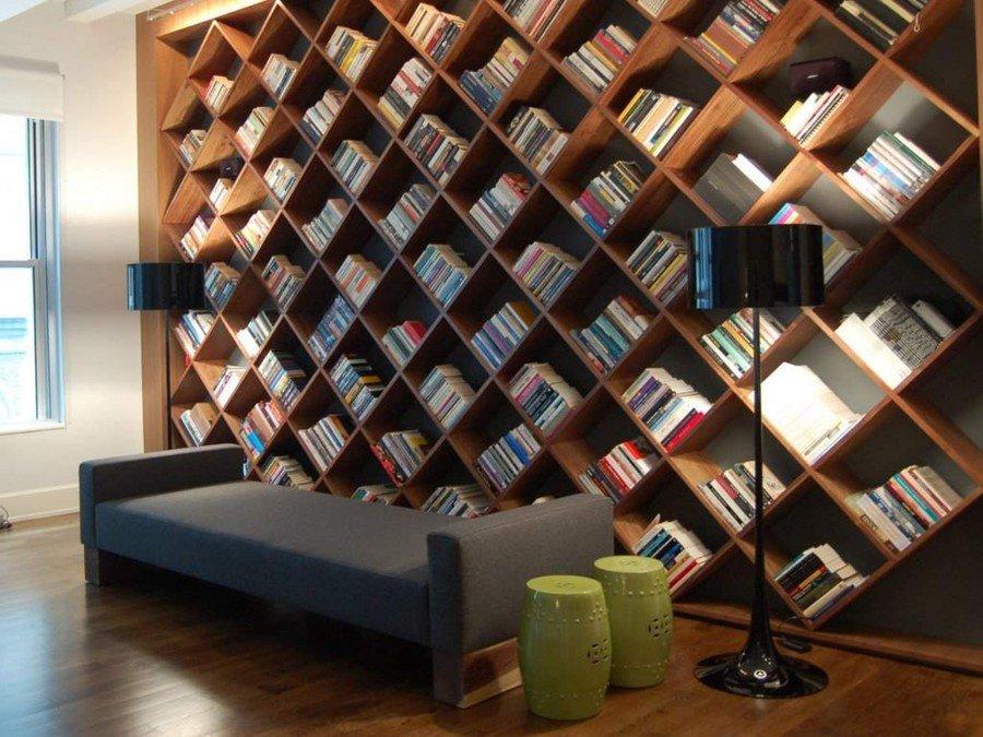 Стеллажи для книг фото в интерьере