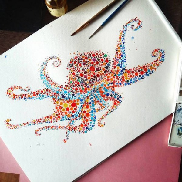 Акварельные рисунки точками Аны Еншиной (10 фото)