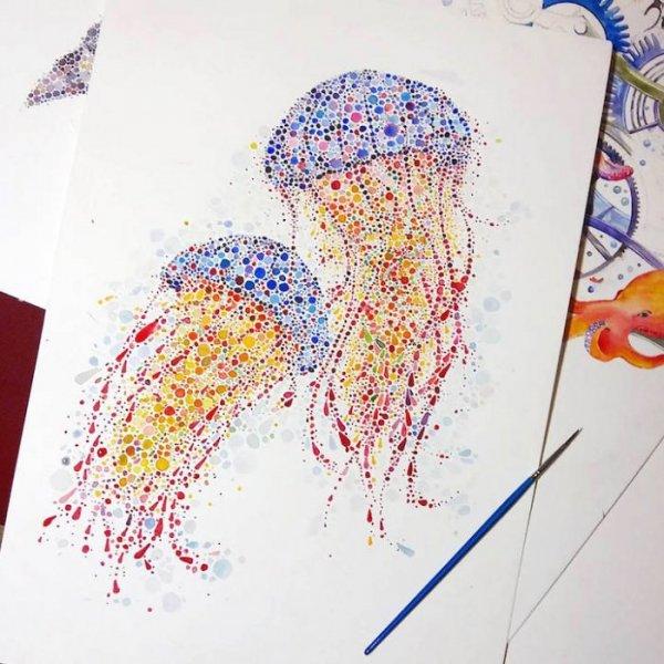 Акварельные рисунки точками Аны <i>точками</i> Еншиной (10 <em>рисунки животных точками</em> фото)
