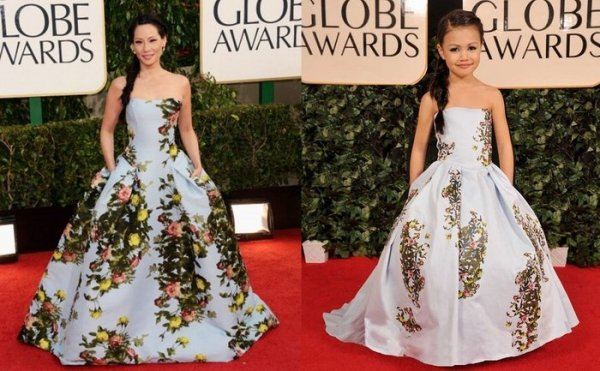 Мини-копии знаменитостей на красной ковровой дорожке Golden Globe Awards (6 фото)