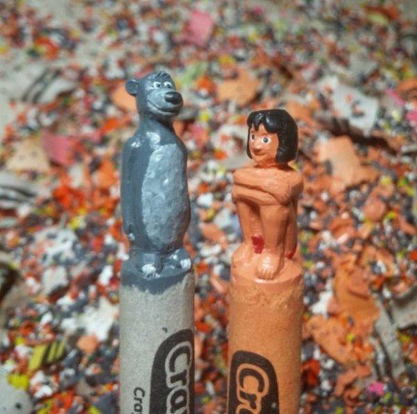 Крошечные скульптуры на восковых мелках (27 фото)