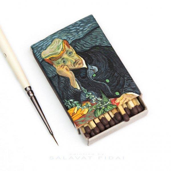 Миниатюрные копии картин Ван Гога на спичечных коробках (11 фото)