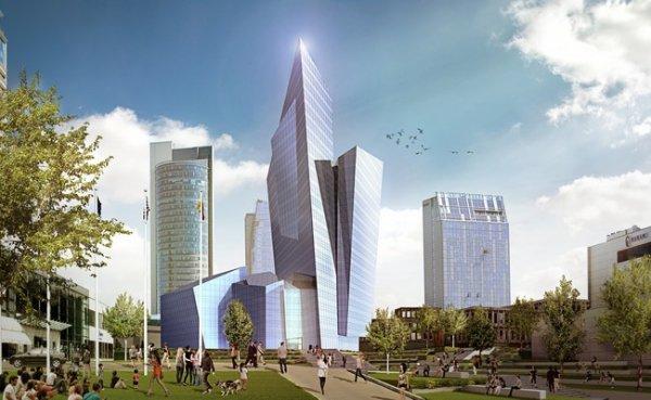 В центральной части Вильнюса будут строить отель в виде кристалла