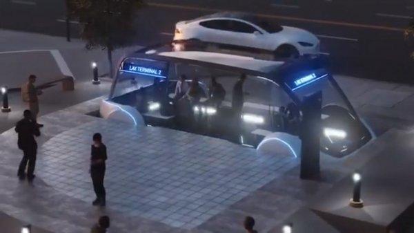 Маск презентовал концепцию скоростного подземного электробуса